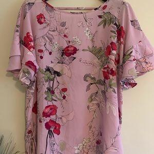 Pink Floral V-neck Back Polyester Top